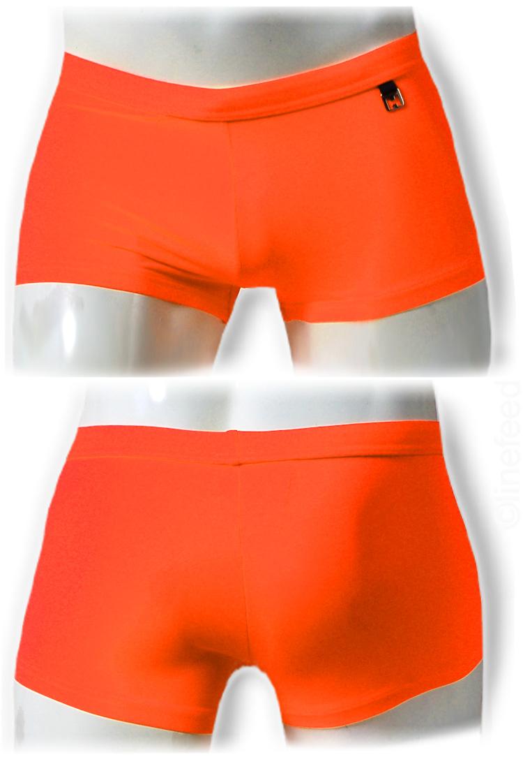 15d56c8db5 swim pants, label HOM, solid neon orange, on frontside small metal logo